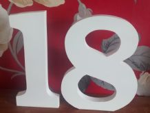 2 x  LARGE WOODEN NUMBERS,white numbers, guest book party display, celebration